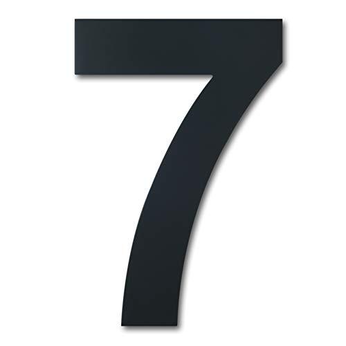 Número casa exterior acero inoxidable, altura 125mm, chapado en negro (Número 7 Siete)