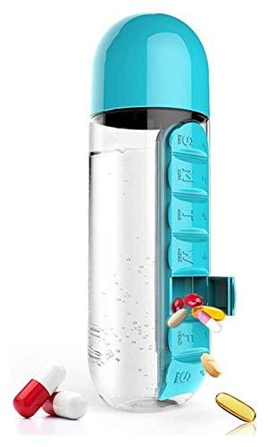 Botella de agua con organizador diario de píldoras, caja de almacenamiento de medicamentos y botella de agua a prueba de fugas combinación para exteriores, gimnasio, viajes Jsmhh (color: azul)