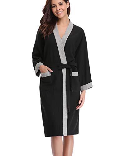 Abollria Unisex Albornoz Primavera Verano Batas y Kimonos Batas Invierno con Cinturón (M=EU(42-44), Negro)
