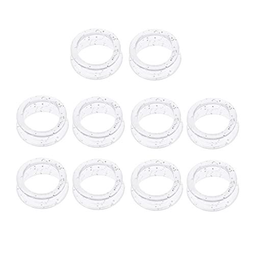 Sharplace 2x10 Piezas Tijeras de Goma Suave Tijeras Anillos de Dedo Empuñaduras para Peluquería de Salón Blanco
