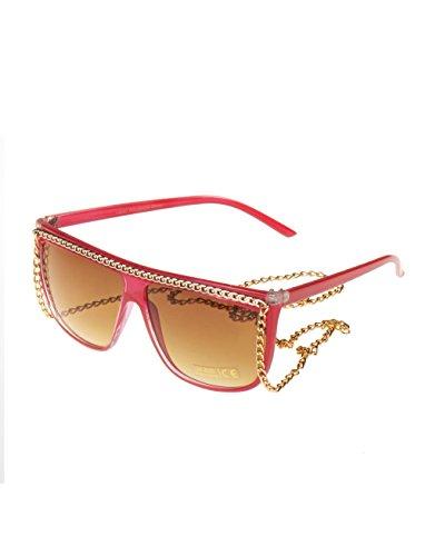 Brille mit Goldener Kette rot