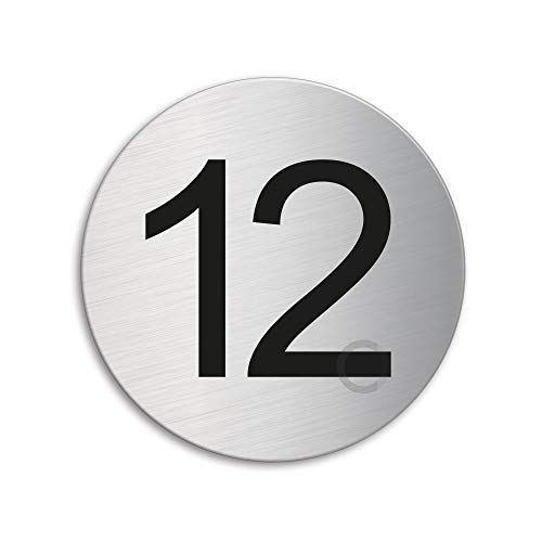 Türnummer 12 | Zimmernummer | Türschild aus Edelstahl Ø 75 mm selbstklebend | Original Ofform Design Nr.40082