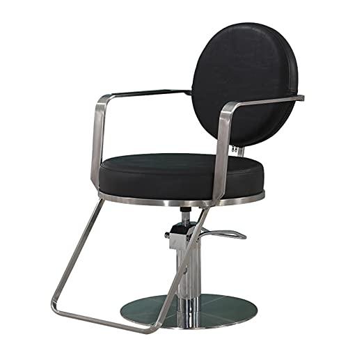 FLAMY Sillon barbero,Silla Salon,Peluquero,sillón de peluquería, sillón Giratorio con Bomba hidráulica, para Equipamiento de peluquería, Negro, Gris