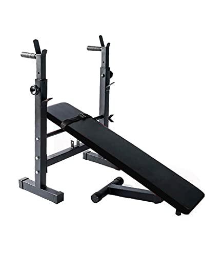 Wonduu Banco de Musculación Multifunción Inclinado | con Soporte para Barra y Pesas Ajustable | Banco de Pesas y Abdominales Plegable