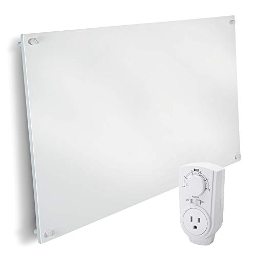 EconoHome Wall Mount Space Heater Panel - with Thermostat - 600 Watt Convection Heater - Ideal for 200 Sq Ft Room - 120V Electric Heater - Save Up to 50% of Heating Cost - with Overheat Protection