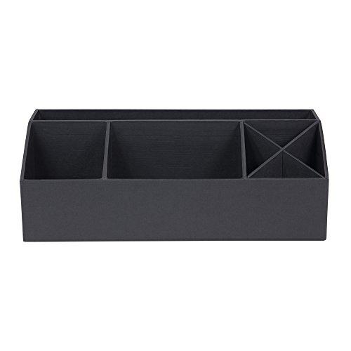 Bigso Box of Sweden Schreibtisch Organizer mit 4 Fächern – Ordnungssystem für Zettel, Büroklammern, Stifte usw. – Sortierkasten aus Faserplatte und Papier in Leinenoptik – dunkelgrau