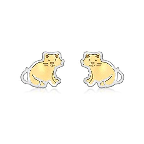 Carissima Gold Pendientes de niños con oro bicolor, Gato sentado