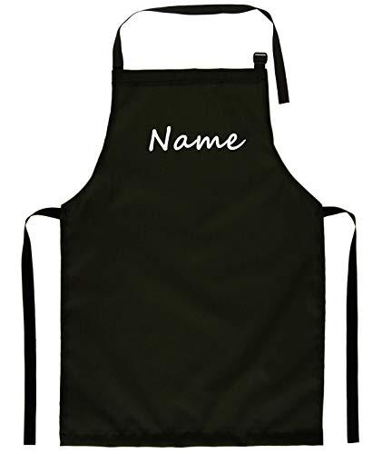 Ferocity Tablier de cuisine pour enfants à la mode peinture, artisanat, divers modèles pour enfants Noir avec Nom [074]
