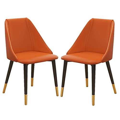 ARWQ857 - Set di 2 sedie da cucina moderne, con schienale alto in pelle PU, con gambe in acciaio al carbonio, per ufficio, salotto, cucina, camera da letto, colore: arancione