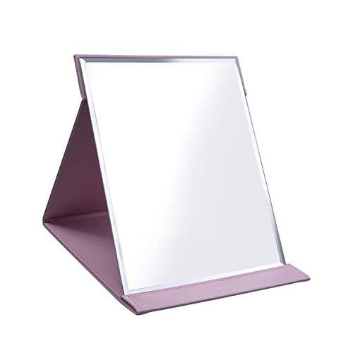 LASISZ Rose Noir Voyage Miroir Pliable Poche Portable en Acier Inoxydable Rectangulaire Miroir Maquillage Pliant Compact Bureau Table Miroir, Rose, 205x155mm