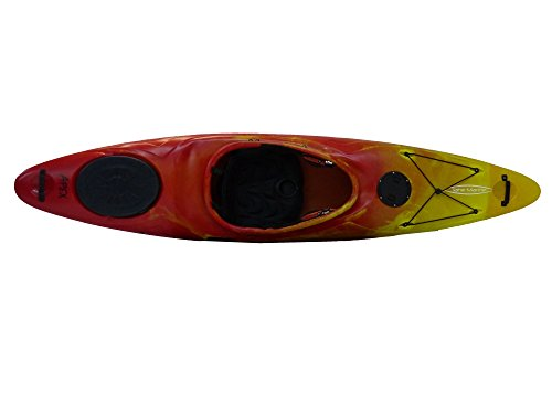 Tahe Marine ehemals Robson Apex PE Kajak Wildwasserkajak Freizeitkajak mit Skeg, Ausstattung:Mit Skeg, Farbe:Rot-Gelb-Marmoriert