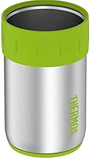 Thermos Stainless Steel Beverage Can Insulator for 12 Ounce Can, Lime Green