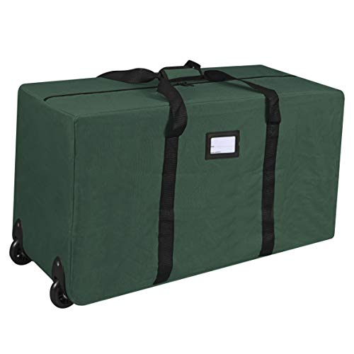 ProPik Holiday Rolling Tree Storage Bag, Fits Up to 6 ft. Tall Disassembled Tree, 22' H X 16' W X 50' L, Large Heavy Duty Storage Container with 2 Wheels & Handles, 600D Oxford (Green)