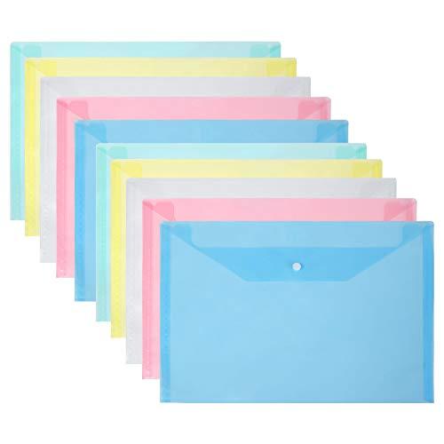 Vicloon Cartelle Portadocumenti in Plastica, A4 Portadocumenti Trasparente Busta con Bottone per Scuola e Ufficio, 5 colori (10pcs)