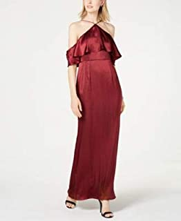 ADRIANNA PAPELL Womens Maroon Cold Shoulder Gown Halter Neck Full-Length Evening Dress US Size: 12