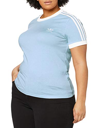 adidas 3 Str tee Camiseta de Manga Corta, Mujer, Azul (Clear Sky/White), 34