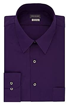 Van Heusen mens Regular Fit Poplin Solid Dress Shirt Purple Velvet 18.5 Neck 34 -35 Sleeve XX-Large US