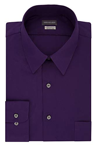 Van Heusen Men's Dress Shirt Regular Fit Poplin Solid, Purple Velvet, 18' Neck 34'-35' Sleeve (XX-Large)