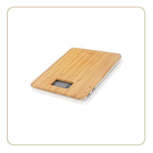 LITTLE BALANCE 8344 Happy Food - Balance de cuisine électronique - 5 kg / 1 g - Plateau Bambou véritable - Design Bambou