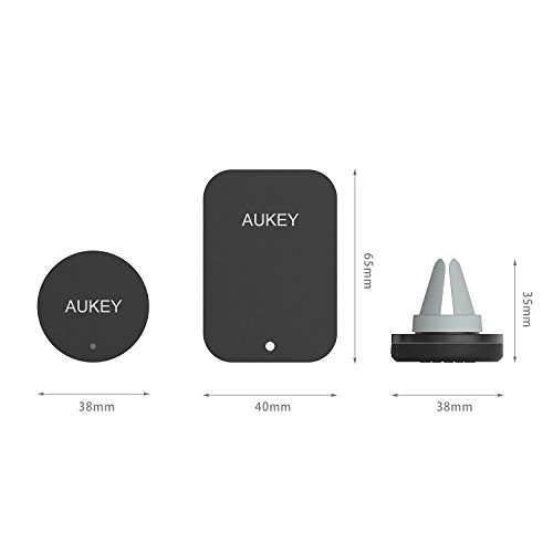 AUKEY Car Phone Holder Air Vent Magnetic Car Holder Universal Car Mount Cradle for Apple iPhone SE/6S/6/5S/5C/5, Samsung Galaxy S6 Edge Note5 4, Nexus, Smartphones and Mini Tablets(Black)