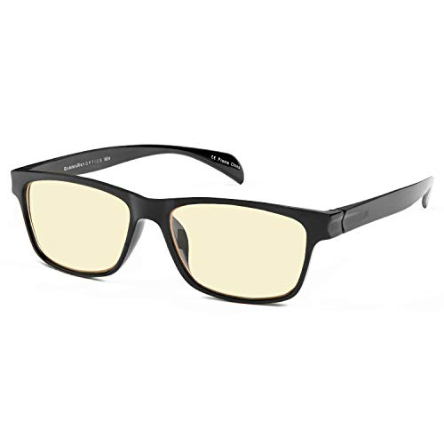 GAMMA RAY 003 UV Glare Protection Amber Tinted Computer Readers Glasses Anti Harmful Blue Rays in Shatterproof Memory Flex Frame - +0.00 Magnification