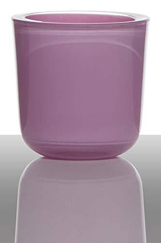 INNA-Glas Tea light candle holder NICK, cylinder/round, lilac, 3'/7,5cm, Ø3/7,5cm - Lantern for tealight/Small glass candle holder