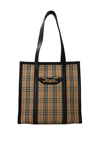 Burberry Small 1983 Check Link Tote- Black