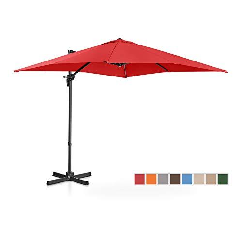 Uniprodo Parasol Déporté De Jardin Terrasse Protection Solaire UNI_Umbrella_2SQ250RE (Rouge, Carré, Rotatif, Aluminium, Acier, Polyester, 250 x 250 cm, Filtre UV)