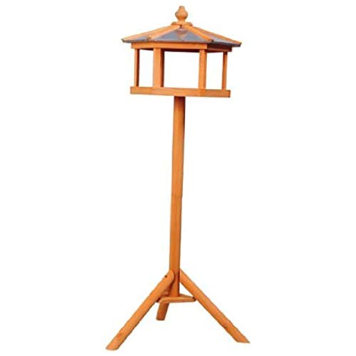 ADHW 113cm High New Deluxe Bird Stand Multifunction Feeder Table Feeding Station Wooden Garden Wood Coop Parrot Stand