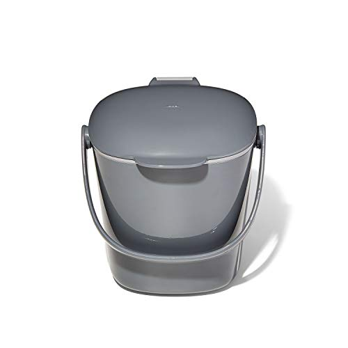 NEW OXO Good Grips Easy-Clean Compost Bin, Charcoal - 0.75 GAL/2.83 L