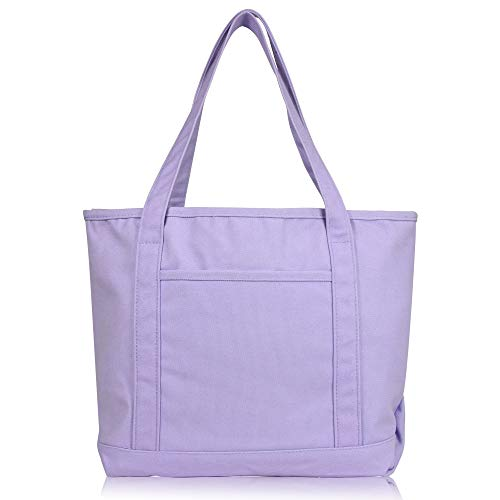 DALIX 20' Solid Color Cotton Canvas Shopping Tote Bag in Lavender