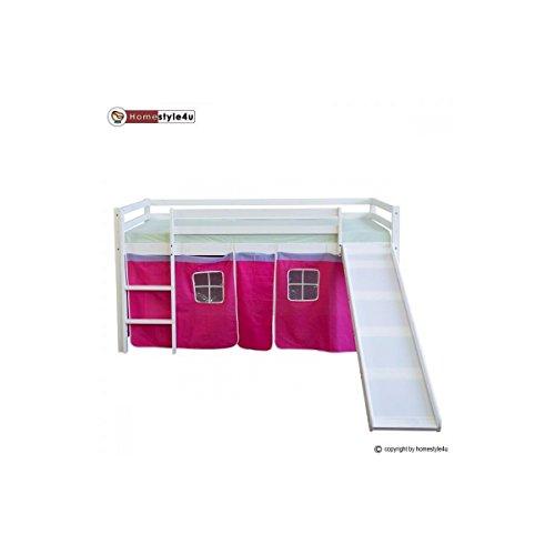 Lit Simple Blanc 90x200 en hauteur avec echelle et rideau Rouge et Toboggan