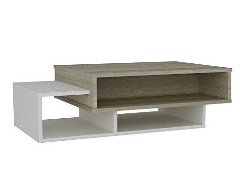 Alphamoebel Tab 1407 Couchtisch Beistelltisch Wohnzimmertisch Sofatisch modern, 105x60x32 cm (B/H/T), Weiß Cordoba, Holz, mit Ablagen