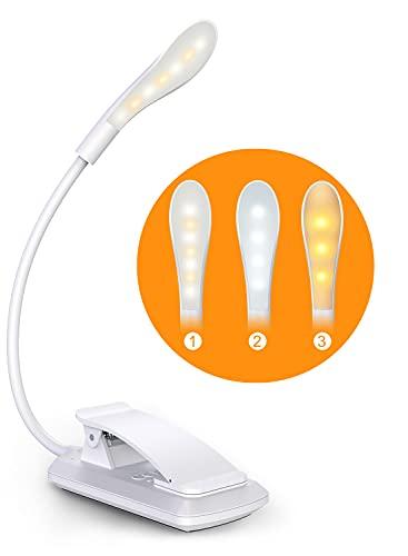 Cocoda Luce Lettura, 360° Flessibile Lampada da Lettura con Clip, 7 LED a 3 Livelli di Luminosità, Ricaricabile USB,Tocca Cambia, Mini Luce Notturna per la Lettura a Letto