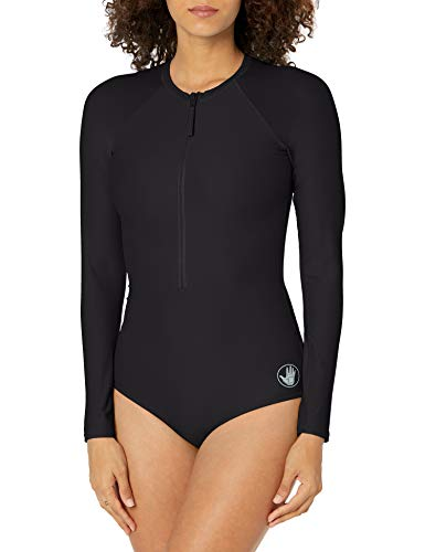 Body Glove Women's Standard Smoothies Channel Solid Long Sleeve Zip Front One Piece Paddle Swimsuit, Black, Large