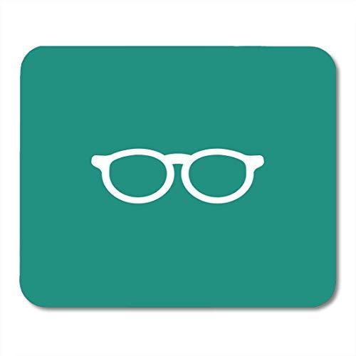 Mauspads blaues zubehör weiße flache hipster-brille türkis unisex student brille einfache bücherwurm piktogramm mauspad für notebooks, Desktop-computer büromaterial
