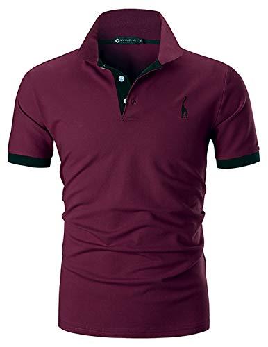 STTLZMC Polo para Hombre de Manga Corta Casual Moda Algodón Camisas Cuello en Contraste Golf Tennis,Rojo,XL