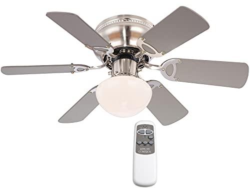 Deckenventilator mit Beleuchtung Holz Design Leise - Ventilator mit Fernbedienung Decke - Deckenlampe Wohnzimmer mit Lüfter - 6 Wende Flügel Ahorn oder Graphit 76 cm