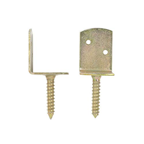 Domax 10 x Galvanised L Shaped Fence Panel Brackets Screw in Clips Elbow Connectors