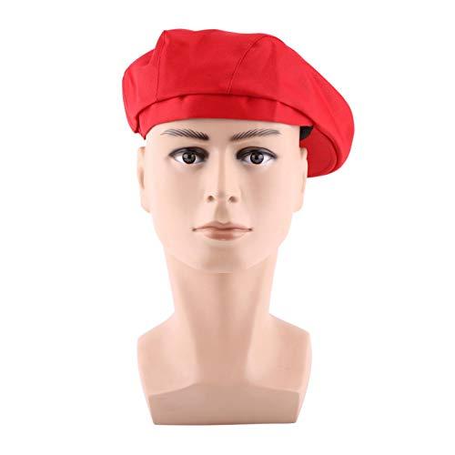 ViaGasaFamido 1 Pieza de Moda para Hombres y Mujeres, Gorro de Chef, Panadero, Asistente de Cocina, Cocinero, Boina de Pico de Pato, Gorras de Golf para Personal de Catering, restaurantes(Rojo)