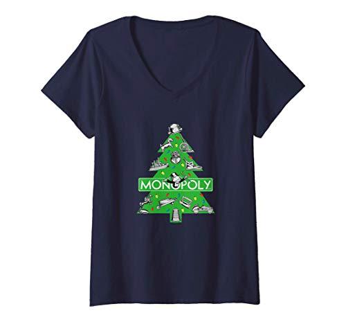 Mujer Monopoly Christmas Tree Camiseta Cuello V