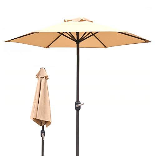 ZLI Sonnenschirm Beiger Außengartenschirm mit Kurbel, Beach Patio Market Sonnenschutzschirm, Wasserdichter UV-Schutz (Color : Beige)