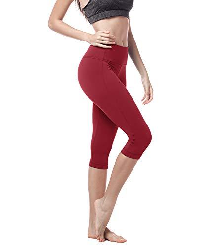 LAPASA Mallas Deportivas 3/4 Capris de Mujer Cintura Alta (Leggings para Yoga, Pilates, Running) L02 (XS/34 (Cintura 58-66, Cadera 74-82 cm), Beauty Red (Rojo Intenso))