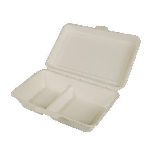 PAPSTAR 25 cajas de menú, caña de azúcar Pure 2 divisiones, 6,5 cm x 24 cm x 15,5 cm, color blanco, recibirás 4 paquetes de 25 unidades (total 100 unidades)