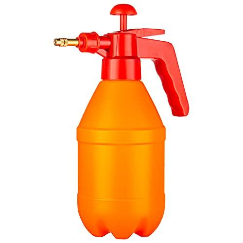 0.21 Gallon Manual Garden Sprayer Hand Lawn Pressure Pump Sprayer Safety Valve Adjustable Brass Nozzle (0.8L Red)