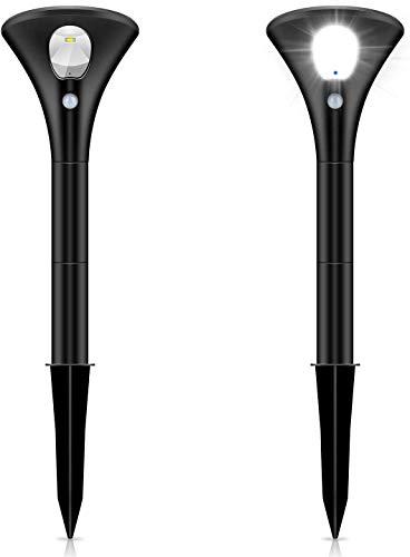 【2020高輝度最新版】Leoleeガーデンライト 屋外 スポットライト 二つモード ソーラーライト 自動点灯 太陽光パネル充電 IP65防水 LEDライト モーションセンサー付き 取付簡単 高さ調整可能 防犯対策 ナイトライト(昼光色2本入り)930