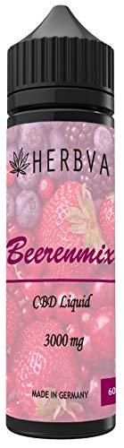 1200mg CBD Liquid Aroma - HERBVA® CBD • Beerenmix • e-Liquid • Shake-and-Vape für Ihre e-Zigarette, 0,0 mg Nikotin • 60 ml PG VG nikotinfrei E-Shisha