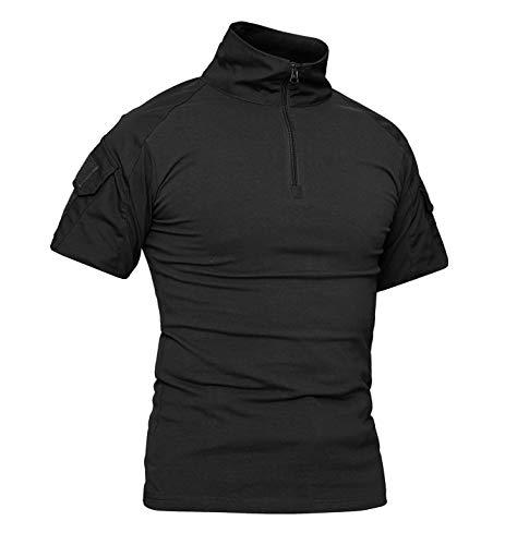 KEFITEVD Chemises Slim Airsoft Camouflage pour Hommes 1/4 Zip Front T-Shirt Militaire Tactique Militaire Polos Extérieurs Noir