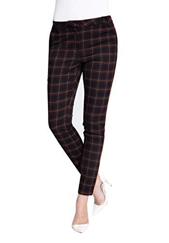 Zhrill Damen Stoffhose Anzugshose Vintage Slim Fit Sophia, Größe:W25 / L32, Farbe:N2000 - Brown