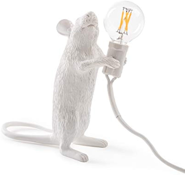 Seletti Mouse Lamp-Stehend, Harz, Wei, 14,5 x 6,2 x 8,1 cm